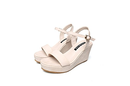 Xing Lin Ladies Sandals New Women 'S Sandals Summer Thick Word Deduction Black Wedge Heel Shoes Small Code 31 32 33 apricot T1PQOGoE7