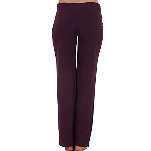 (Women's Stretch Tracksuit Bottoms Sports Pants Tummy Control Running Trousers Wine)