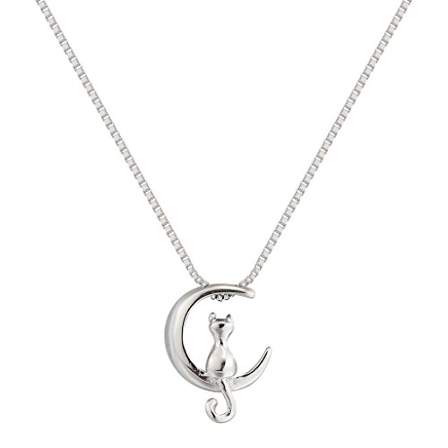 Power Necklace S925 Sterling Silver Cat On Moon Animal Pendant Necklace 18