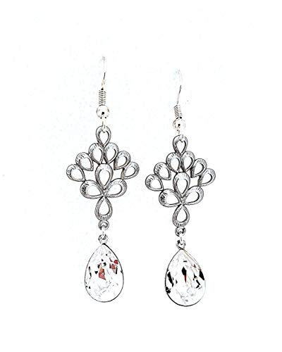 Bridal Earrings, Swarovski Crystal Chandelier Earrings with Clear Teardrop Stones, Silver Hypoallergenic or Nickel Free for Sensitive Ears
