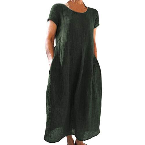 TIANMI Women Summer Short Sleeve Dress Fashion Pockets Solid Round Beach Neck Linen Casual Loose Dresses -