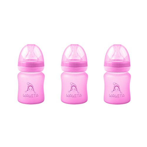 Wawita Glass Baby Bottle with Protective Silicone, Anti-Coli
