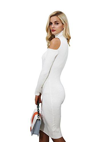 Women's Cold Simplee Sweater Midi Shoulder Dress Apparel Bodycon Dress White CE55qw