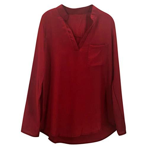 Vin Femmes Rouge Tops V Longues Soie Innerternet en Shirts Col en Solide Poche Chemisier T de Blouse Mousseline Manches RF5AT5q