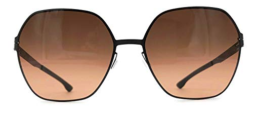 ic! berlin Jacy C. Oversized Stainless Steel Hexagon Sunglasses in Teak Nougat with Gradient Red Rocks ()