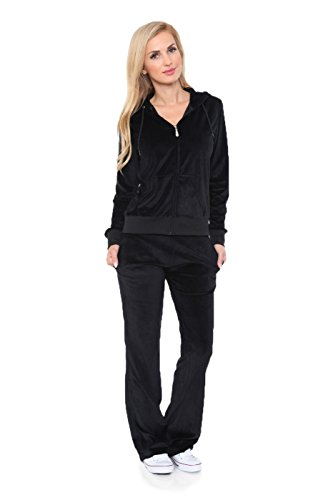 Womens Comfortable and Stylish Velour 2 Piece Tracksuit Set Medium Black