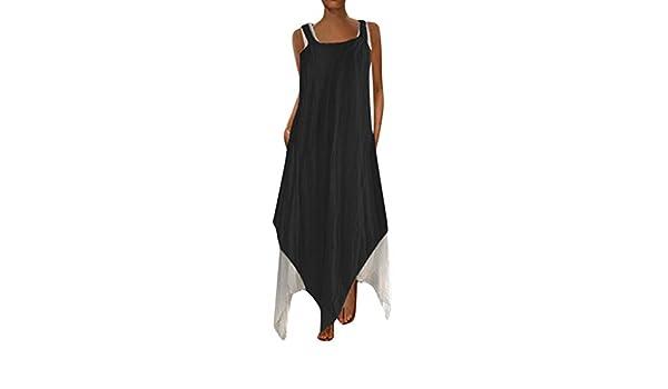 AIFGR Falda de señora Damas Cuello Irregular Sin Mangas Cabestrillo Vestidos Informales o Vestido de Fiesta de Cuello sólido(Negro,XL): Amazon.es: Ropa y accesorios