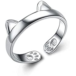 Millechic Women's Elegant 925 Sterling Silver Dragon Cat Rings Gothic Genuine Evening Party Knuckle Ring