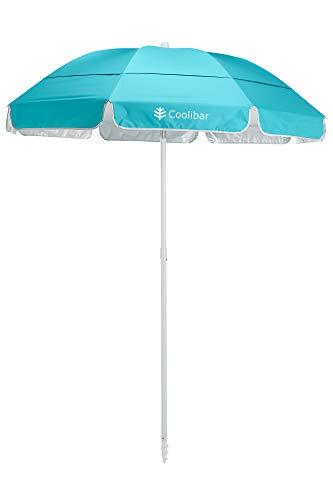 Coolibar UPF 50+ 6 Foot Intego Beach Umbrella - Sun Protective (One Size- Cooliblue)