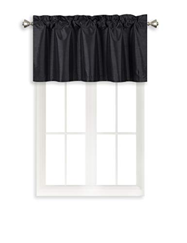 Home Queen Solid Rod Pocket Blackout Curtain Valance Window Treatment for Living Room, Short Straight Drape Valance, 2 Pieces, 37 X 18 Inch, Black