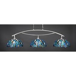 Toltec Lighting 873-BN-995 Bow - Three Light Billiard, Brushed Nickel Finish with Blue Mosaic Tiffany Glass