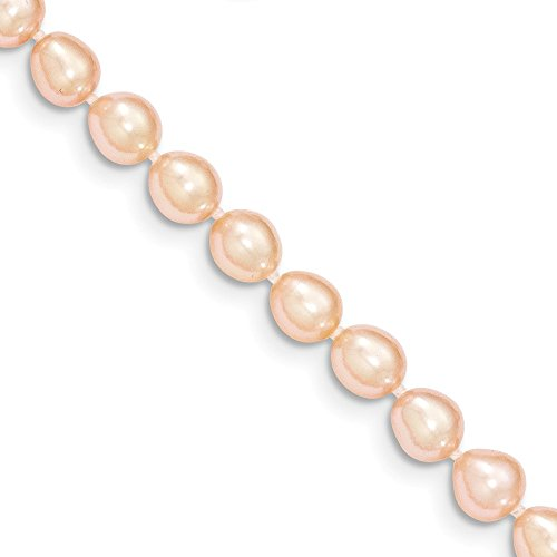14k Yellow Gold 5-6mm Pink Freshwater Cultured Rice Pearl Bracelet 4 Inches Long (Necklace Pearl Pink Bracelet Real)