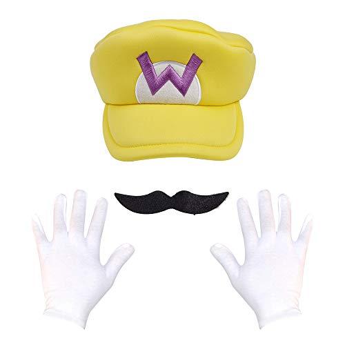 Super Maryo Brothers Cosplay Hats Wario Luigii Waluigi Caps for Adult Kids (One Size, Unique-Yeloow)