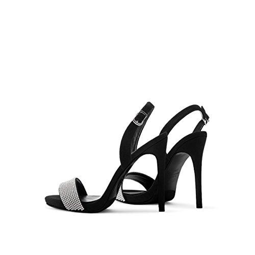 Donne Sexy Strass Business Tacchi Alti Scarpe Da Sera Donna Elegante Scarpe A Punta Esposte Nero