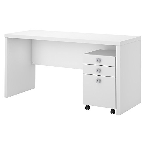 Office by kathy ireland Echo Credenza Desk with Mobile File Cabinet in Pure White by Bush Business Furniture