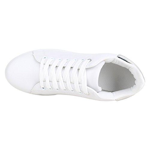 Stiefelparadies Damen Sneaker Low Basic Flandell Weiss Silber Camiri