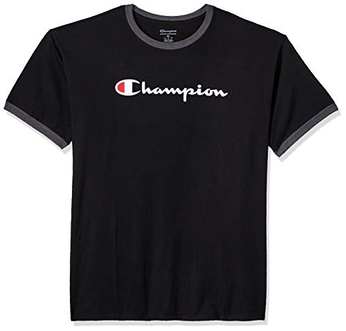 Champion Men's Jersey Ringer Tee, Black, Small