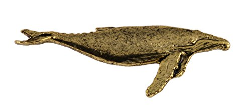 Wildlife Pin (Creative Pewter Designs Pewter Humpback Whale Handcrafted Wildlife Lapel Pin Brooch, 24k Gold Plated, MG085)