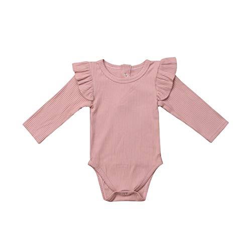 Infant Baby Girl Basic Plain Rib Knit Ruffle Long Sleeve Romper Bodysuit Tops (Lemonade(2), 6-12 Months)