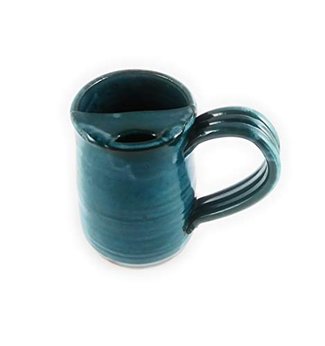 Cup Moustache (Aunt Chris' Pottery - Hand Made Clay - Right Handed Large Drinking Mug (Cup) With Mustache Guard - Blue Green (Turquoise) Glazed - Mug With Comfortable Loop Handle)