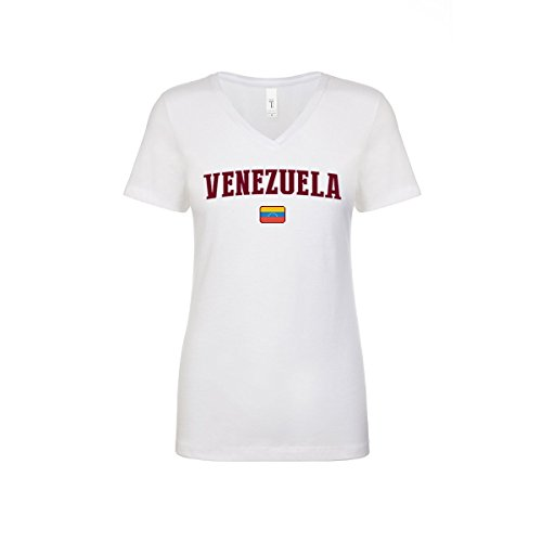 Venezuela Soccer Jersey - nobrand Venezuela Women's Flag National Pride Woman V-Neck Tee T-Shirt (Women White(2) L)