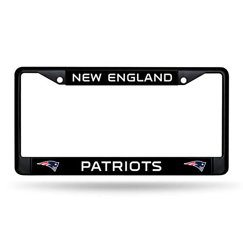 Rico Industries New England Patriots Authentic Metal BLACK License Plate Frame Auto Truck Car