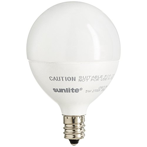 Sunlite LED Globe 40W Equivalent (Only Uses 5 Watts!) Dimmable Frosted G16 Bulb, Candelabra Base, Warm White