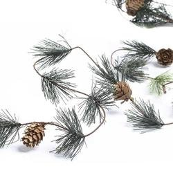 Factory Direct Craft Artificial Wispy Smoky Mountain Pine with Natural Pine Cones Garland for Christmas Holiday (Pinecone Christmas Crafts)