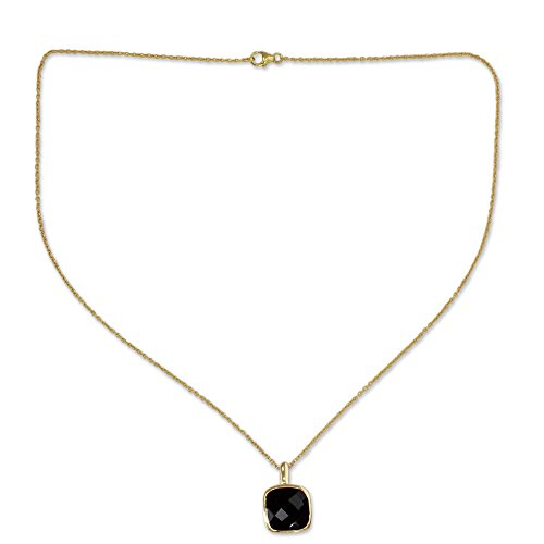 NOVICA Onyx 18k Yellow Gold Plated .925 Sterling Silver Pendant Necklace, 18.5