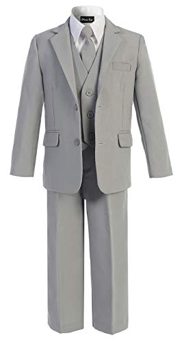 Light Grey Boys Suit (OLIVIA KOO Boys Solid 5-Piece Formal Suit Set With Matching Neck Tie Silver)