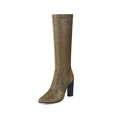 RTRY Zapatos De Mujer Glitter Materiales Personalizados Moda Otoño Invierno Gladiator Botas Botas Chunky Talón Señaló Toe Botas Mid-Calf Sequin Zipper US4-4.5 / EU34 / UK2-2.5 / CN33