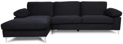 NOUVCOO 3 Modern Velvet Fabric Sectional Sofa