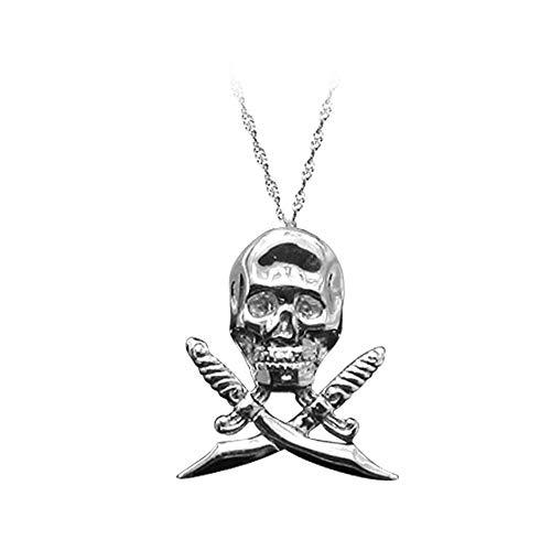 ZZKJYQR Crossbones Necklace/Skeleton Gothic Skull Pendant Titanium Steel Necklace for Men,Silver