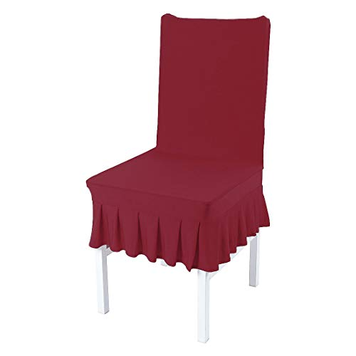 uxcell Dining Chair Covers,Ruffled Skirt Stool Slipcover Stretch Spandex Chair Protectors Short Kitchen Chair Seat Cover for Home Dining Room Party Wedding Medium,Burgundy