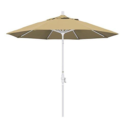 California Umbrella 9' Round Aluminum Market Umbrella, Crank Lift, Collar Tilt, White Pole, Champagne Olefin