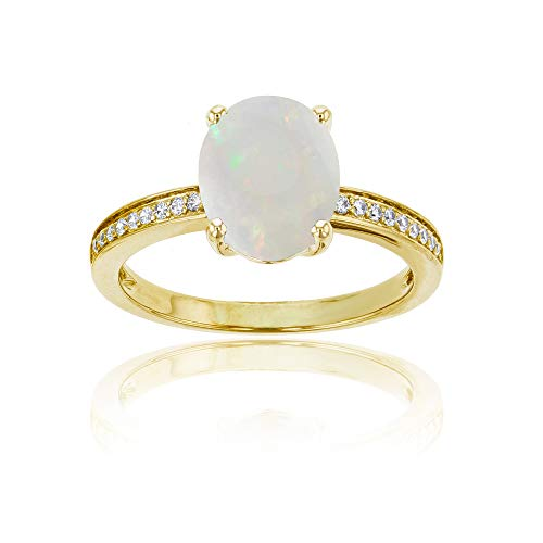 (Sterling Silver Yellow 1mm Round Created White Sapphire Channel Set & 10x8 Oval Created Opal Engagement Ring)