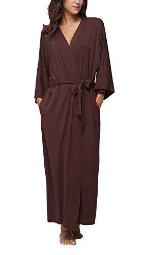 FADSHOW Women's Soft Long Sleepwear Modal Cotton Wrap Robe Bathrobe Nightgown Coffee