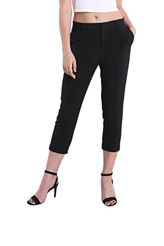 Black Tailored Trouser - Fyriona Women's Capri Slim Pants Cropped Tailored All Day Relax-Fit Trousers Black L