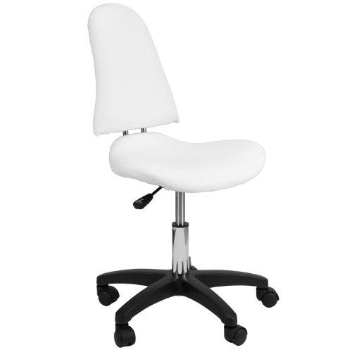 HinHocker® - Arbeitshocker mit Rückenlehne, gepolsterter Sitzfläche, weiß