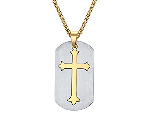 Vnox Stainless Steel Gold Plated Cross Inlay Dog Tag Pendant Necklace,,Free Chain 24