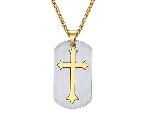24k Two Tone Cross (Stainless Steel Two-tone Cross Removable DogTag Men's Pendant Necklace, 24