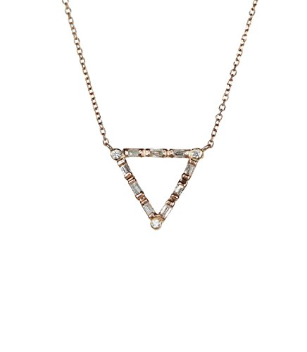Genuine Diamond Baguette Brilliant Cut Triangle Pendant Necklace 14K Rose gold