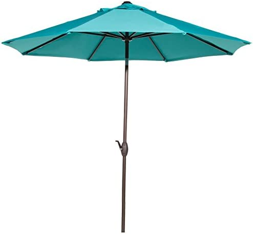 Abba Patio 9 Feet Patio Umbrella Market Outdoor Table Umbrella with Auto Tilt and Crank, Turquoise