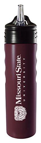 Missouri State University-24oz. Stainless Steel Grip Water Bottle with Straw-Burgundy (Missouri Bottle)