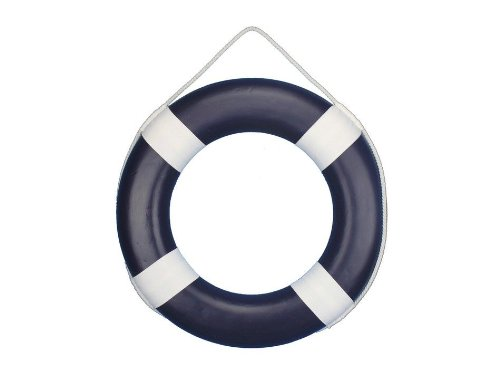 (Hampton Nautical  Dark Blue Painted Lifering with White Bands, 20