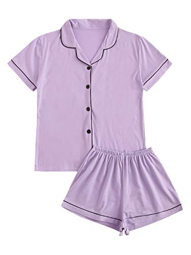 Floerns Women's Notch Collar Short Sleeve Sleepwear Two Piece Pajama Set Purple XL