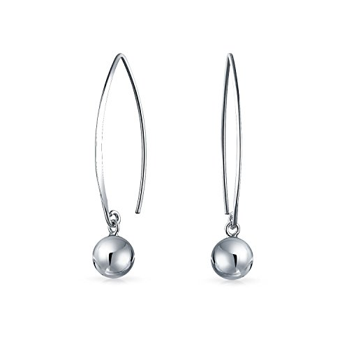 10 Mm Bead Drop (Bling Jewelry Sterling Silver Ear Wire Threader Ball Drop Earrings 10mm)
