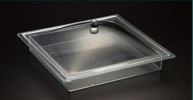 Square Tray W/Cover (Set) Acrylic (Dish inserts not included)