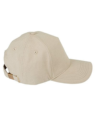 Big Accessories 5 Panel Structured Brushed Brass Buckle Twill Cap, Khaki, One Size