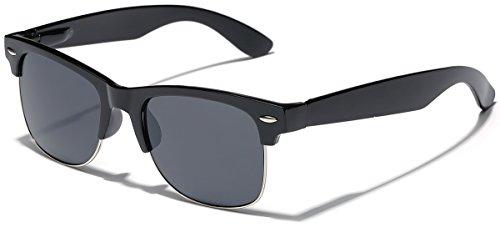 Polarized Half Frame Classic Retro Horn Rimmed Sunglasses